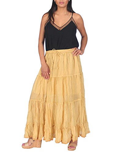 KayJayStyles Solid Hippie Gypsy Bohemian Full Circle Ruffle Maxi Long Cotton Skirt