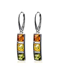 Sterling Silver Multicolor Amber Square Earrings