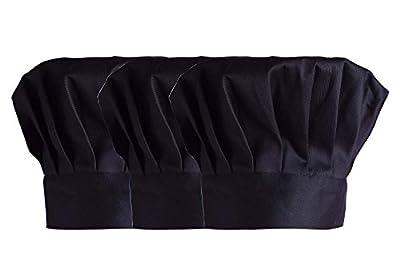 Unisex Chef Hat 3 Pcs Adult Adjustable Elastic Cooking Baker Kitchen Cap CF9015 Black