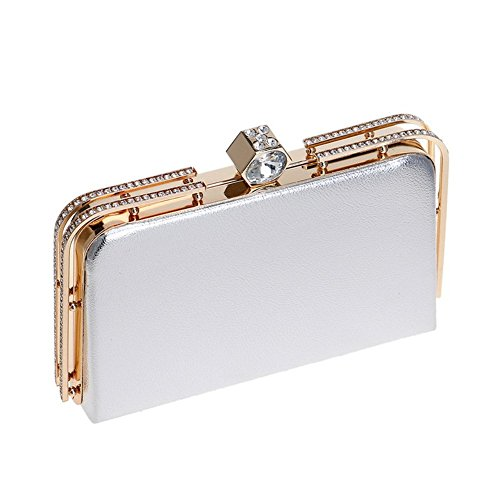 Bags Party Evening Wedding Clutch Shoulder Women Out Handbag Dress Silver Metal wBgyUq