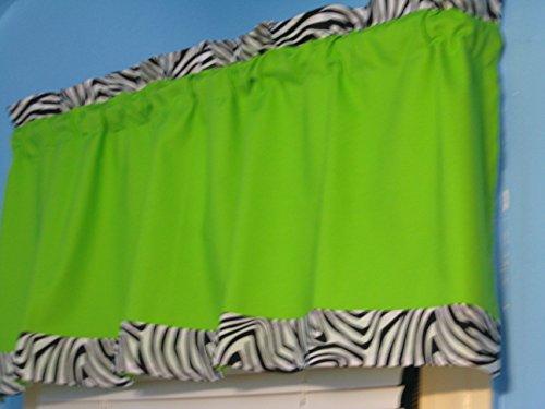 Handmade LIME GREEN with Black White Zebra Print Window Valance