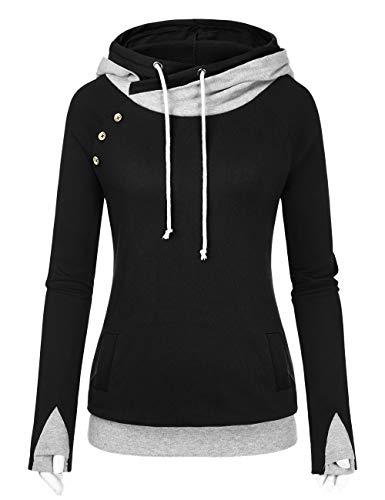 DJT Womens Long Sleeve Cowl Neck Button Raglan Color Block Pocket Tunic Hoodie
