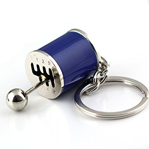 Maycom Creative Auto Part Model Gear Box Keychain Six-speed Manual Transmission Shift Lever Gear Box Keyring Key Chain Ring Keyrings Keyfob (Blue) (Manual Transmission Gear)