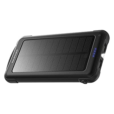 RAVPower 10000mAh Outdoor Battery Pack with iSmart 2.0 and Dual Input (Solar and Outlet), Shockproof Solar Power Bank