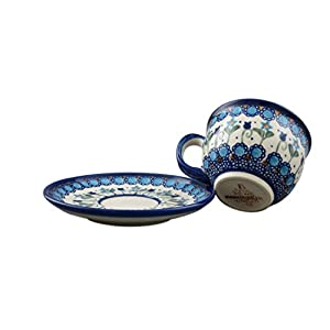 Boleslawiec Style Pottery Hand Painted Polish Ceramic Vika Cup with a saucer 033-U-006