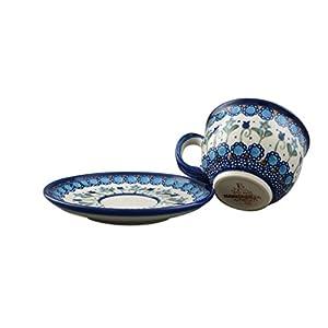 Boleslawiec Style Pottery Hand Painted Polish Ceramic Vika Cup with a saucer 033-U-006