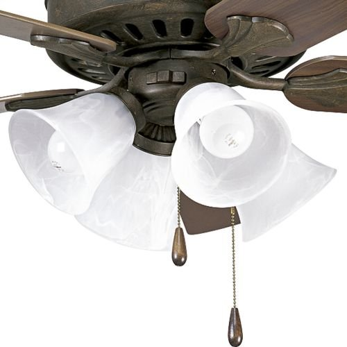 Progress Lighting P2616-46 4-Light Kit with Alabaster Style Glass Bowl For Use with P2503 Ceiling Fans, Weathered Bronze