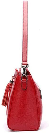 Color : Red FeliciaJuan Leather Shoulder Bag Temperament Tassel Bag Ladies Messenger Bag Simple Fashion Shoulder Bag