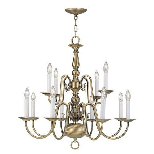 Livex Lighting 5012-01 Williamsburg 12 Light Two Tier (8+4) Antique Brass Chandelier