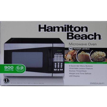 Hamilton Beach 0.9 cu ft 900W Microwave, Stainless Steel /900 watts power/10 power levels