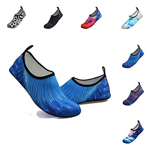 Water Sports Shoes Outdoor Beach Swimming Surf Quick-Dry Aqua Socks Barefoot Yoga Anti-Slip Shoes for Men Women (L: 9-10 M US Women / 7.5-8.5 M US Men, bluelight)