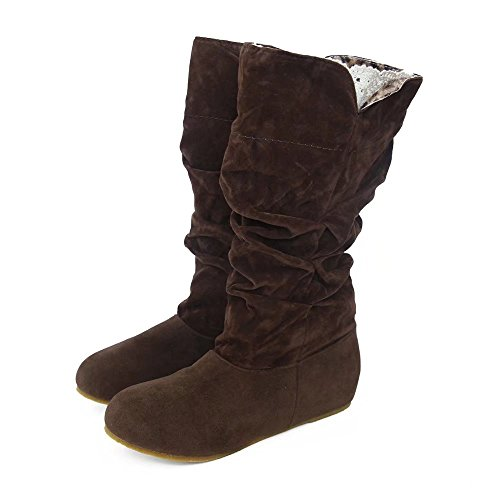 Leoy88 Women's Winter Round Head Faux Suede Fold Ruched Mid-Calf Flat Snow Boots (9, (Ruched Leather Boot)