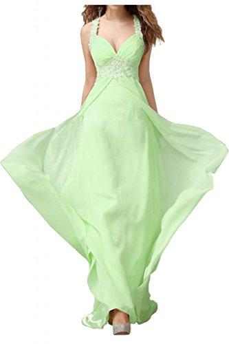 Por la noche la gasa nupcial elegante Rueckenfrei Toscana vestidos de madrinas de largo punta aplicación bola vestidos de fiesta Salbei