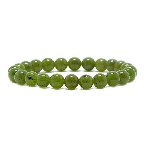 Canadian Jewelry - Justinstones Natural Canadian Nephrite Gemstone 8mm Round Beads Stretch Bracelet 7