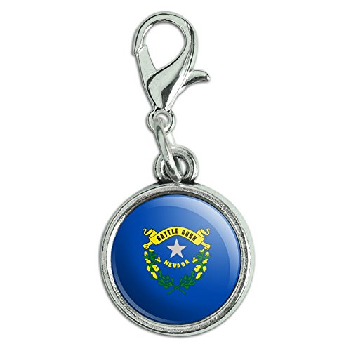 Graphics and More Antiqued Bracelet Pendant Zipper Pull Charm with Lobster Clasp State Flag - Nevada State Flag ()