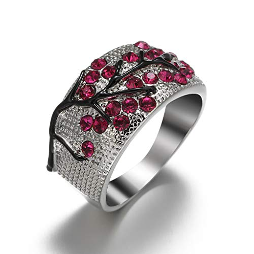 FEDULK Women Luxury Full Rhinestone Rings Bright Zirconia Unique Plum Crystal Wedding Rings Elegant Gift(6, Hot Pink)