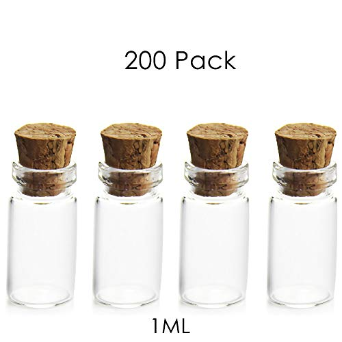 DLIBUY (Pack of 200) 1ML Empty Clear Glass Vials With Cork Stopper-DIY Decoration Wishing Bottle Message Wedding/Party Favors Jewelry Arts & Crafts Sample Sand Note Glitter