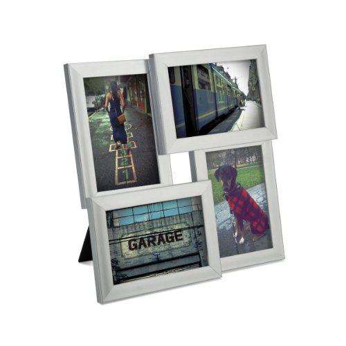 Umbra Pane, Multi 4x6 Picture Frame Collage for Desktop, Nickel (Multi Logo Collage)