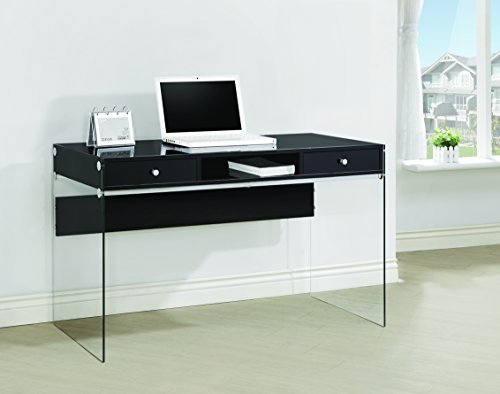 Coaster Contemporary Glossy Black Writing Desk with Glass Sides -