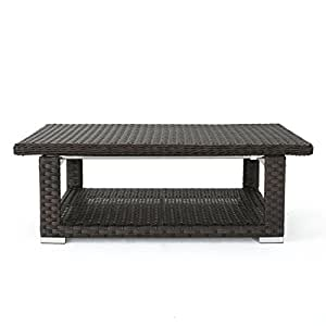 Lanie Outdoor Multibrown Wicker Aluminum Framed Coffee Table
