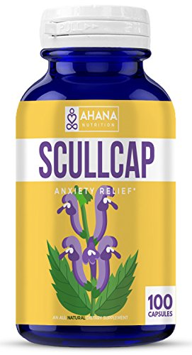 Ahana Nutrition Organic Scullcap Capsules – Anti Anxiety, Inflammation Relief, Nervous System Support and Detox (425mg – 100 Capsules)