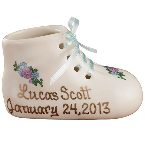 "Porcelain Personalized Baby Bootie Heirloom – Blue Boy - Customize Ceramic Baby Shoe Keepsake with Baby Name and Birth Date – Birth, Baptism or Christening Gift - 4"" Long by 2"" Wide -"