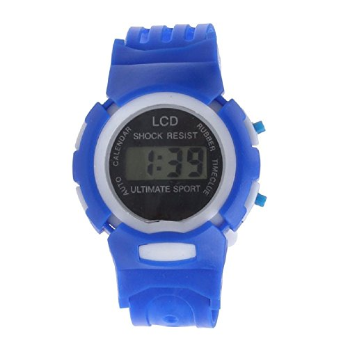 SMTSMT Students Time Clock Digital LCD Wrist Sport Watch-Blue