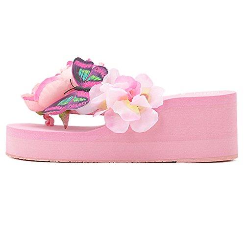 Slip Estate on Size Donna Pink 38 Slides Fiore Zanpa Sandali Scarpe 1MRfgY1Pqw