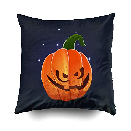 Musesh Kids Pillow Case, 16X16Inch Vector Color Illustration of Cartoon Halloween Pumpkin with Face On Dark Shabby Background Throw Pillow Covers Cusion for Bed,Sofa,Car -