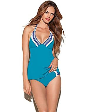 SWIMSUIT, TASSEL HALTER TANKINI TOP BLUE MOON M