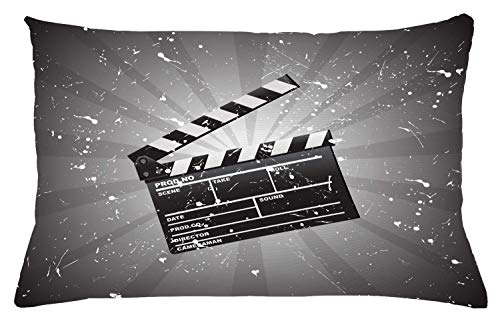 """Ambesonne Movie Theater Throw Pillow Cushion Cover, Clapper Board on Retro Backdrop with Grunge Effect Director Cut Scene, Decorative Rectangle Accent Pillow Case, 26"""" X 16"""", Dark Grey"""