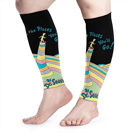 Calf Compression Sleeves Oh The Places You'll Go Leg Support Socks for Women Men 1 Pair -