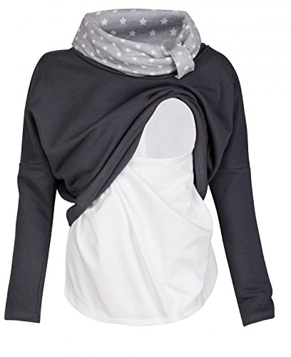 Happy Mama. Damen Sweatshirt Stillzeit Zweilagiges Stillen Top Rollkragen. 795p (Graphit, EU 42)