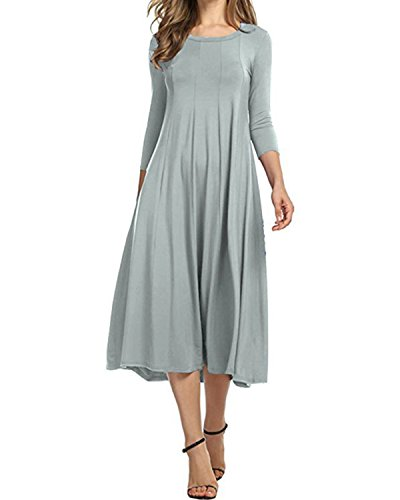 AUDATE Womens Casual 3/4 Sleeve Solid Color A-Line Loose Swing Midi Dress
