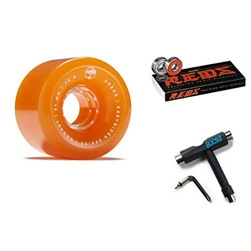 (Arbor Bogart Easyrider Longboard Wheels - Orange - 61mm 78a with Bones Reds Bearings and CCS Skate Tool)