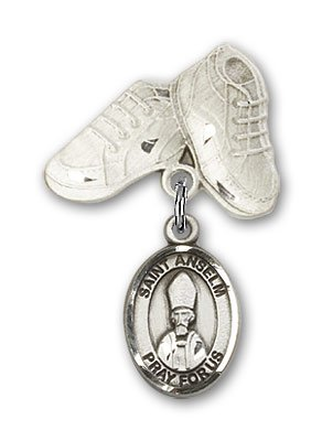 Sterling Silver Baby Badge with St. Anselm of Canterbury Charm and Baby Boots Pin