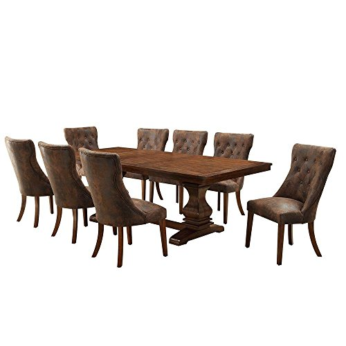 Regina 9-Piece Extendable Wood Dining Set in Weathered Oak by HomeSullivan (Image #1)