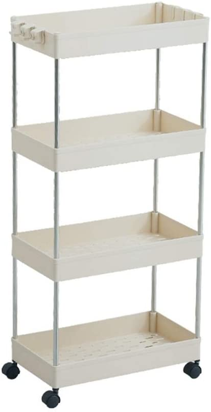 Storage Rack, bathroom cabinets kitchen living room narrow gorge Home Events wheel carrier layer 2/3/4 Storage shelf (Color : White 4 layers)