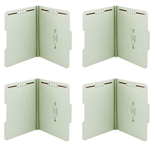 Smead 100% Recycled Pressboard Fastener File Folder, 2 Fasteners, 1/3-Cut Tab, 1