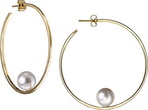 JANIS BY JANIS SAVITT Floating Pearl Hoop Earring Yellow Gold with White Pearl