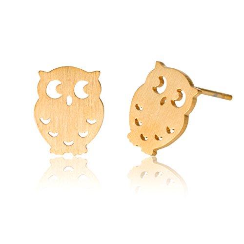 HUAN XUN Owl Earrings Cute Stud Earrings - 18k Gold Plated Stainless Steel