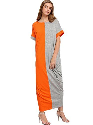 Milumia Womens Summer Boho Color Block Pockets Caftan Maxi Dresses