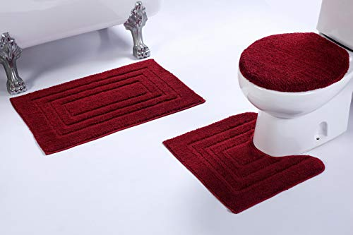 Fancy Linen 3pc Non-Slip Bath Mat Set with Rectangle Pattern Solid Burgundy Bathroom U-Shaped Contour Rug, Mat and Toilet Lid Cover New # Bath 66