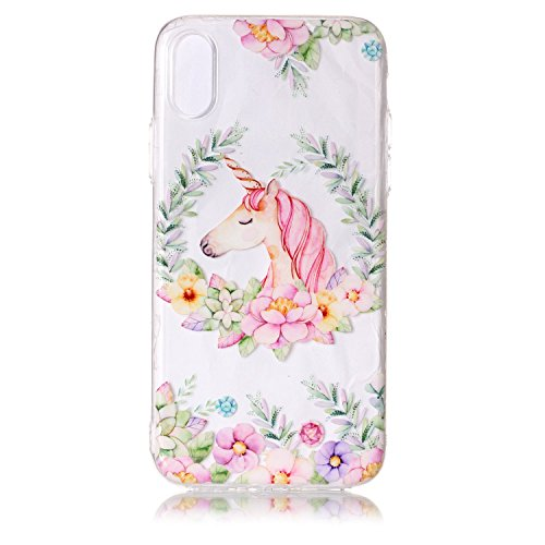 iPhone X Custodia , Leiai Moda Cavallo Di Colore Trasparente Clear Silicone Morbido TPU Cover Case Custodia per Apple iPhone X