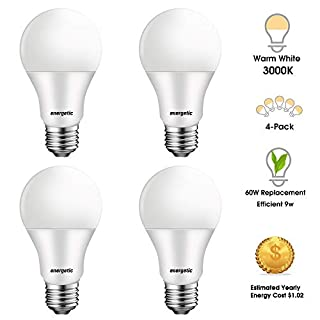 LED Light Bulbs 60 Watts Equivalent, A19 Warm White 3000K, E26 Base, 750 Lumens, Non-dimmable, UL Listed, 4 Pack