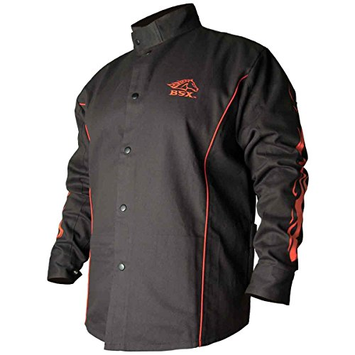 (BSX Flame-Resistant Welding Jacket - Black with Red Flames, Size Large)