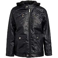 Urban Republic Boys Faux Leather Jacket with Fleece Hoodie (5/6, Black w/Black Hood)
