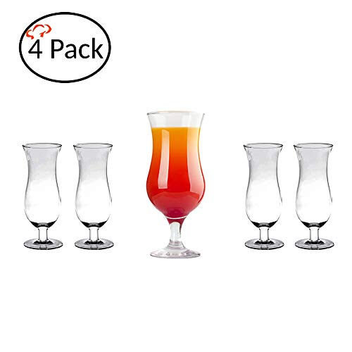 - Tiger Chef Polycarbonate Drinking Glasses (4 Pack, Hurricane 24 Oz)