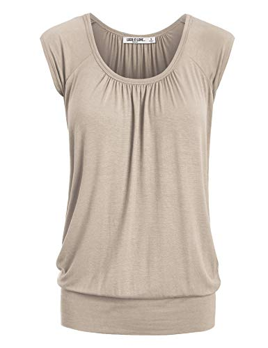 WT1054 Womens Solid Short Sleeve Sweetheart Top L Taupe ()