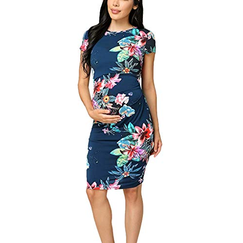 Forthery Maternity Dress,Women's Mini Party Fashion Short Sleeve O-neck Long Printed Foral Maxi Dress Sheath dress (Blue,US Size S = Tag M) (Best Maternity Jeans 2019 Uk)